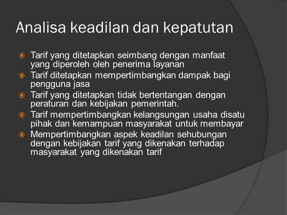 Analisa keadilan dan kepatutan  Tarif yang ditetapkan seimbang dengan manfaat yang diperoleh oleh penerima layanan  Tarif ditetapkan mempertimbangkan dampak bagi pengguna jasa  Tarif yang ditetapkan tidak bertentangan dengan peraturan dan kebijakan pemerintah.