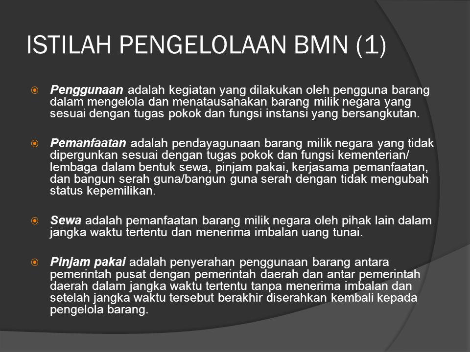 ISTILAH PENGELOLAAN BMN (1)  Penggunaan adalah kegiatan yang dilakukan oleh pengguna barang dalam mengelola dan menatausahakan barang milik negara yang sesuai dengan tugas pokok dan fungsi instansi yang bersangkutan.