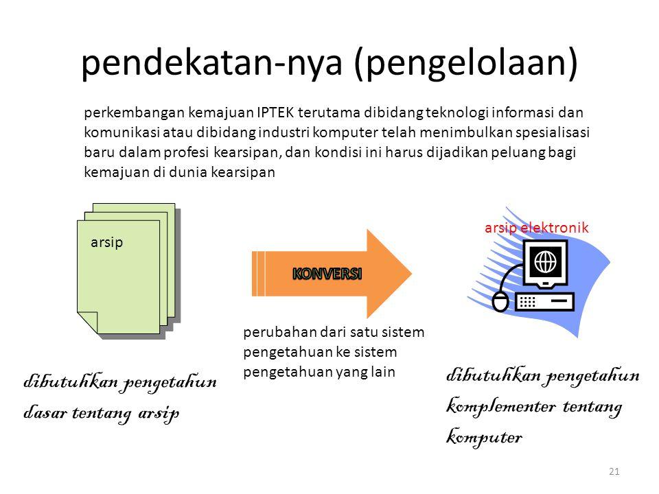 pendekatan-nya (pengelolaan) arsip arsip elektronik perubahan dari satu sistem pengetahuan ke sistem pengetahuan yang lain dibutuhkan pengetahun kompl