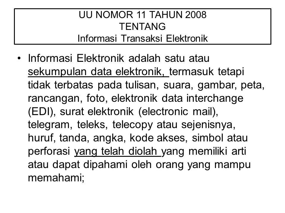 UU NOMOR 11 TAHUN 2008 TENTANG Informasi Transaksi Elektronik Informasi Elektronik adalah satu atau sekumpulan data elektronik, termasuk tetapi tidak