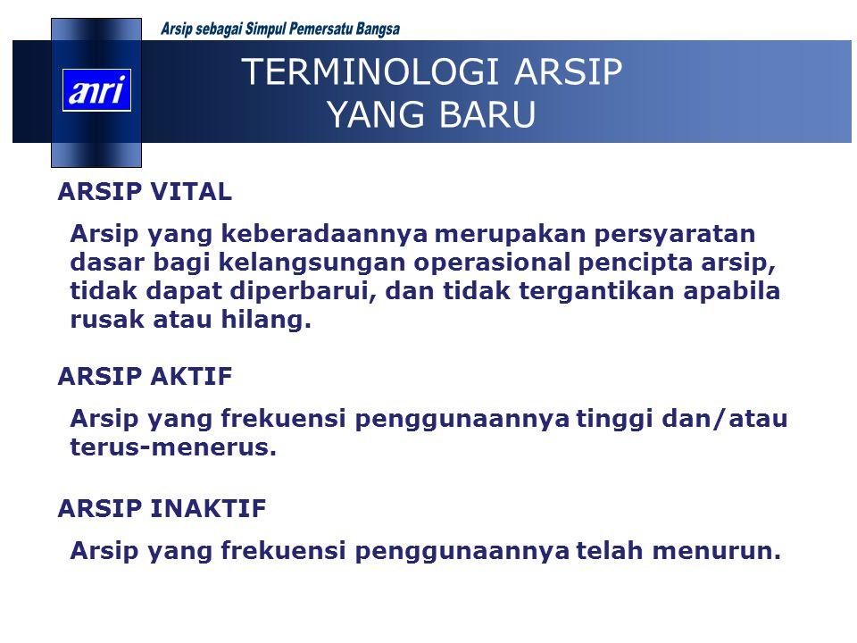 ARSIP VITAL Arsip yang keberadaannya merupakan persyaratan dasar bagi kelangsungan operasional pencipta arsip, tidak dapat diperbarui, dan tidak terga