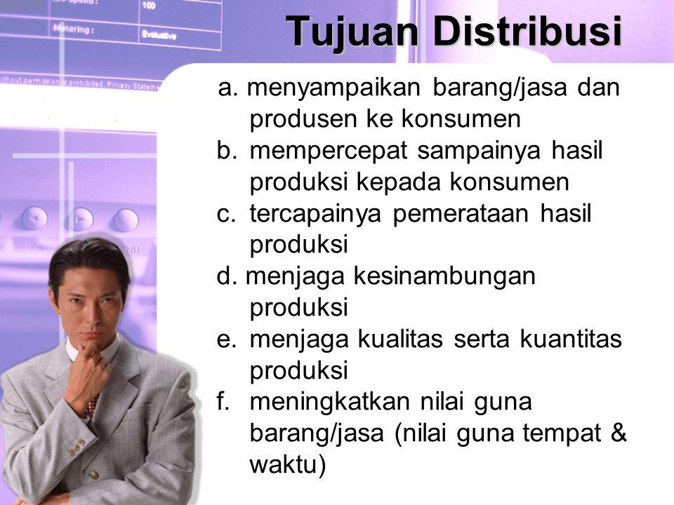 Tujuan Distribusi a. menyampaikan barang/jasa dan produsen ke konsumen b. mempercepat sampainya hasil produksi kepada konsumen c. tercapainya pemerata