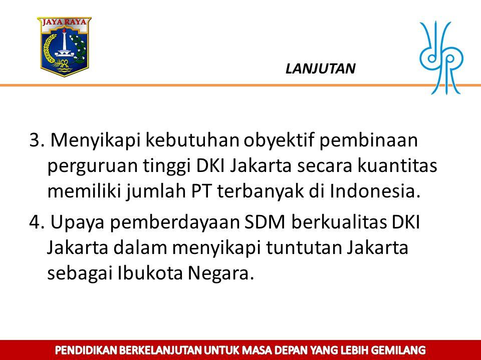 LANJUTAN 3. Menyikapi kebutuhan obyektif pembinaan perguruan tinggi DKI Jakarta secara kuantitas memiliki jumlah PT terbanyak di Indonesia. 4. Upaya p