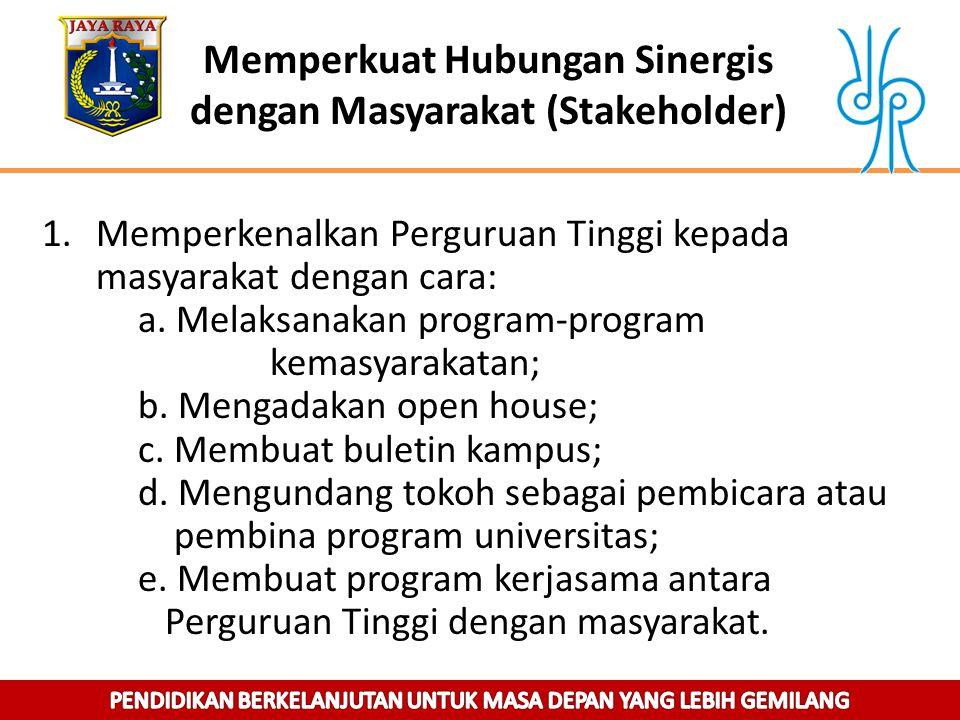 Memperkuat Hubungan Sinergis dengan Masyarakat (Stakeholder) 1.Memperkenalkan Perguruan Tinggi kepada masyarakat dengan cara: a. Melaksanakan program-