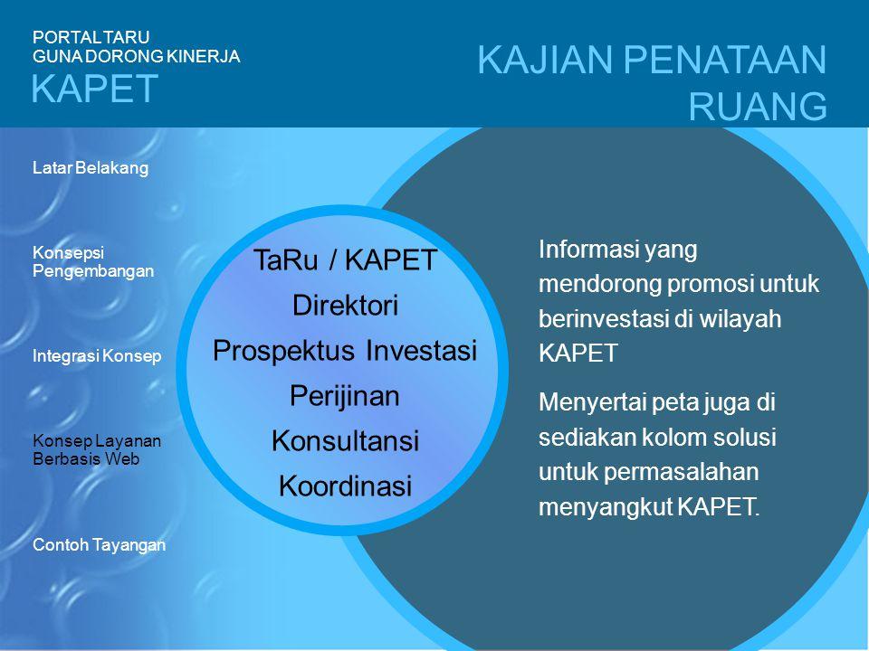 KAJIAN PENATAAN RUANG TaRu / KAPET Direktori Prospektus Investasi Perijinan Konsultansi Koordinasi Informasi yang mendorong promosi untuk berinvestasi di wilayah KAPET Menyertai peta juga di sediakan kolom solusi untuk permasalahan menyangkut KAPET.