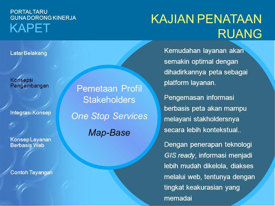 KAJIAN PENATAAN RUANG Pemetaan Profil Stakeholders One Stop Services Map-Base Kemudahan layanan akan semakin optimal dengan dihadirkannya peta sebagai platform layanan.