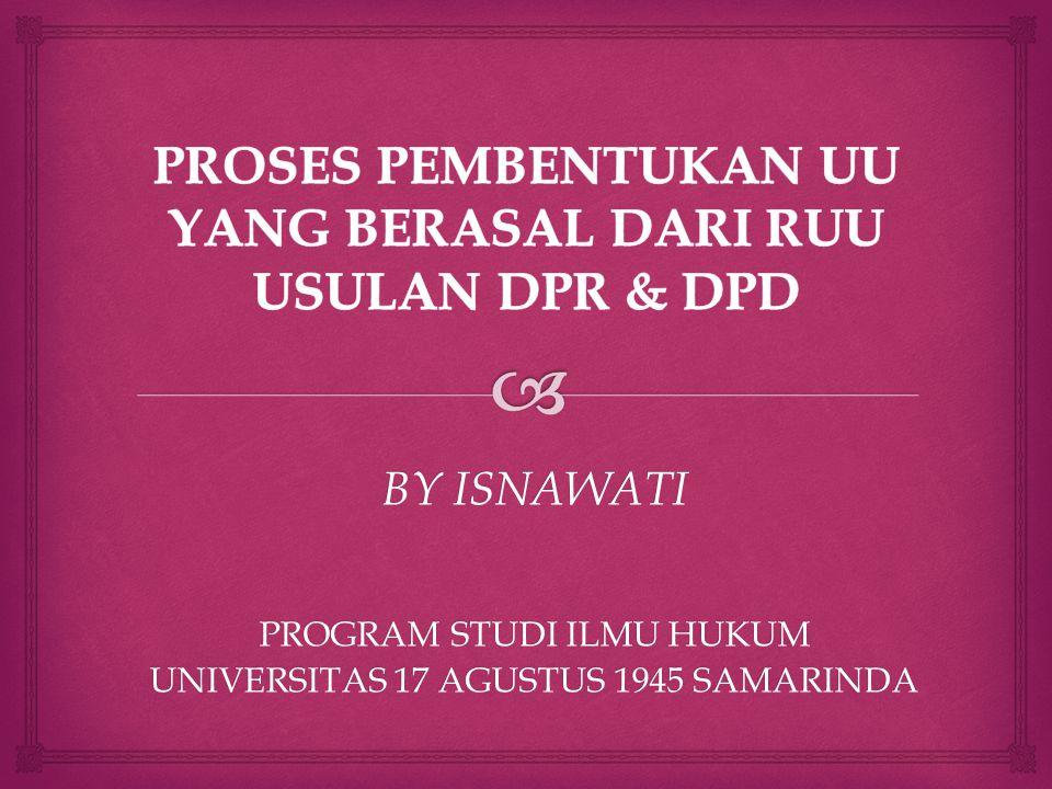 BY ISNAWATI PROGRAM STUDI ILMU HUKUM UNIVERSITAS 17 AGUSTUS 1945 SAMARINDA