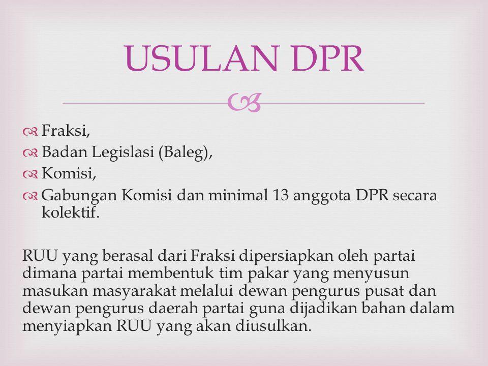   Fraksi,  Badan Legislasi (Baleg),  Komisi,  Gabungan Komisi dan minimal 13 anggota DPR secara kolektif. RUU yang berasal dari Fraksi dipersiapk
