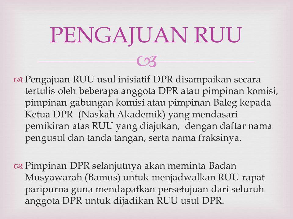   Pengajuan RUU usul inisiatif DPR disampaikan secara tertulis oleh beberapa anggota DPR atau pimpinan komisi, pimpinan gabungan komisi atau pimpinan Baleg kepada Ketua DPR (Naskah Akademik) yang mendasari pemikiran atas RUU yang diajukan, dengan daftar nama pengusul dan tanda tangan, serta nama fraksinya.