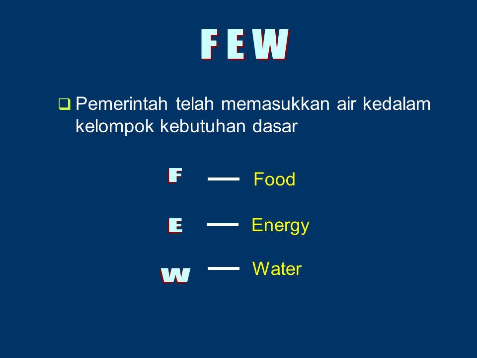 Pemerintah telah memasukkan air kedalam kelompok kebutuhan dasar Food Energy Water