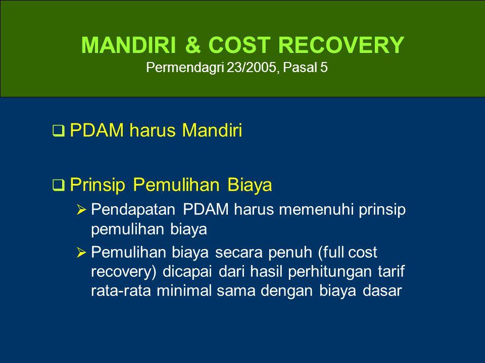 MANDIRI & COST RECOVERY Permendagri 23/2005, Pasal 5  PDAM harus Mandiri  Prinsip Pemulihan Biaya  Pendapatan PDAM harus memenuhi prinsip pemulihan biaya  Pemulihan biaya secara penuh (full cost recovery) dicapai dari hasil perhitungan tarif rata-rata minimal sama dengan biaya dasar