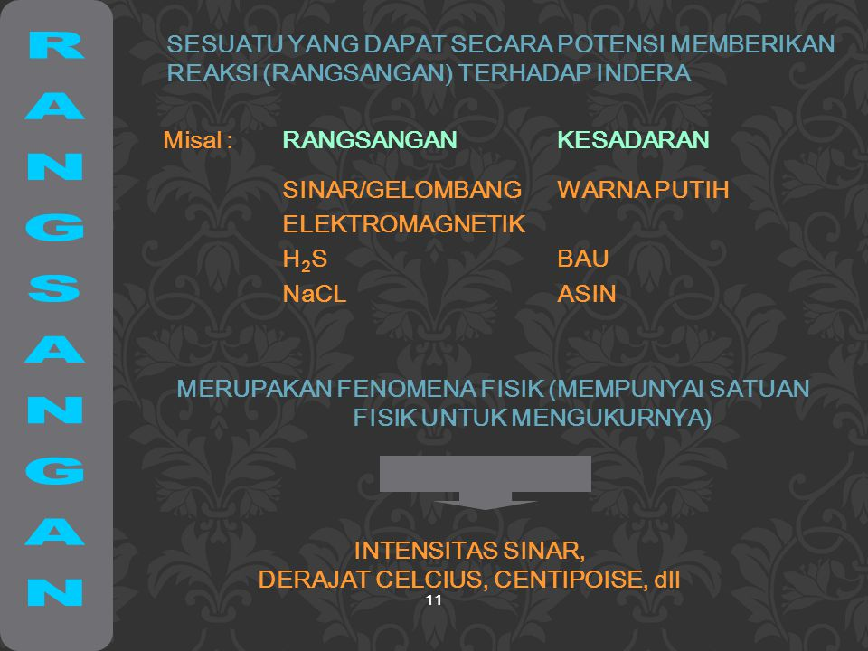 11 SESUATU YANG DAPAT SECARA POTENSI MEMBERIKAN REAKSI (RANGSANGAN) TERHADAP INDERA Misal :RANGSANGANKESADARAN SINAR/GELOMBANG ELEKTROMAGNETIK H 2 S NaCL WARNA PUTIH BAU ASIN MERUPAKAN FENOMENA FISIK (MEMPUNYAI SATUAN FISIK UNTUK MENGUKURNYA) INTENSITAS SINAR, DERAJAT CELCIUS, CENTIPOISE, dll