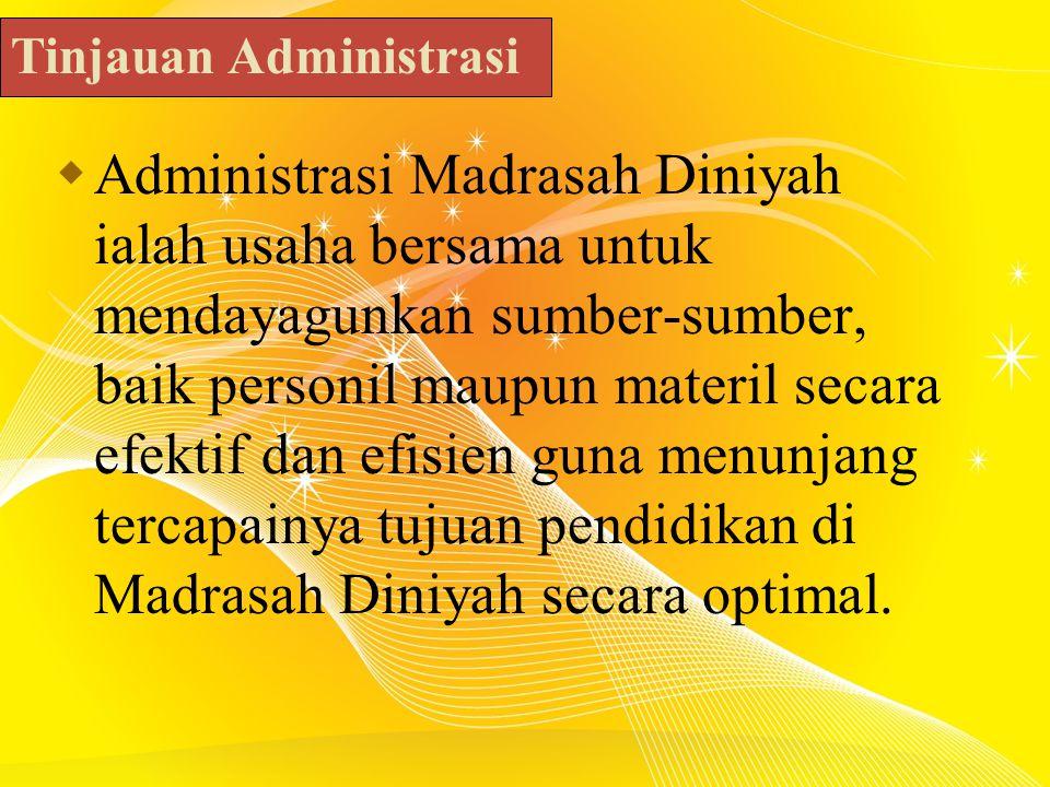  Administrasi Madrasah Diniyah ialah usaha bersama untuk mendayagunkan sumber-sumber, baik personil maupun materil secara efektif dan efisien guna menunjang tercapainya tujuan pendidikan di Madrasah Diniyah secara optimal.