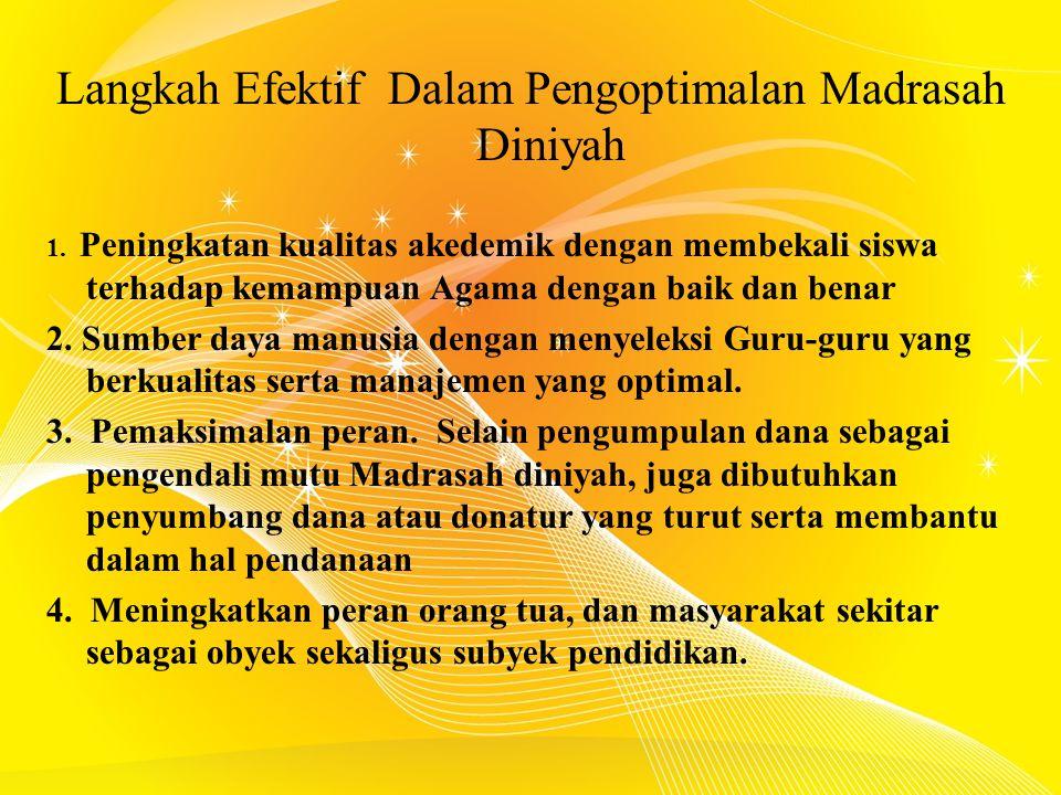 Langkah Efektif Dalam Pengoptimalan Madrasah Diniyah 1.