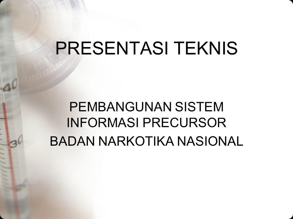 Pendekatan (5) Modul dalam pengembangan Aplikasi Sistem Informasi Precursor BNN, sesuai dengan apa yang disyaratkan dalam RKSS yakni sebagai berikut : –Modul Depkes –Modul Depdag –Modul Depperin –Modul BPOM –Modul Pusgakkum Lakhar BNN –Modul Bea & Cukai –Modul Surveyor Indonesia –Modul Dit.