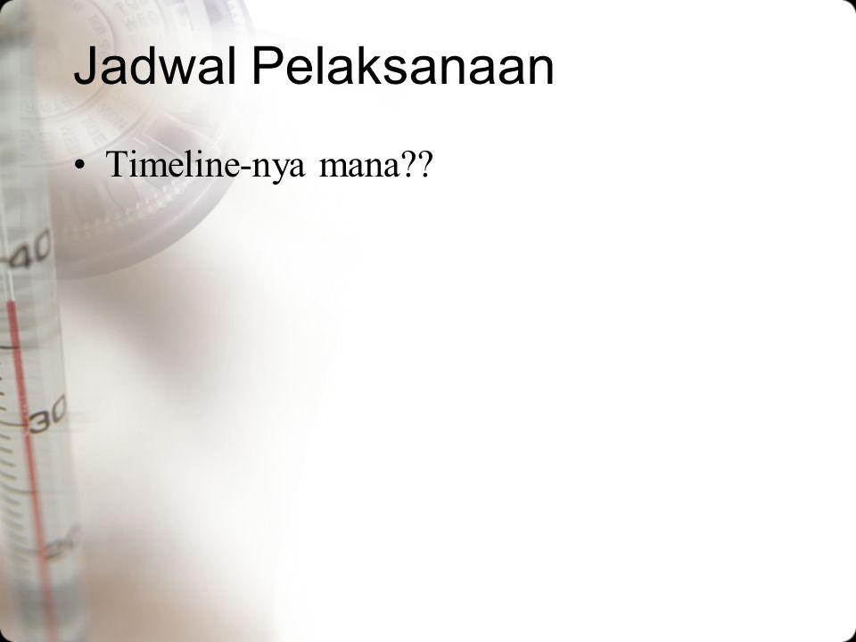 Jadwal Pelaksanaan Timeline-nya mana??