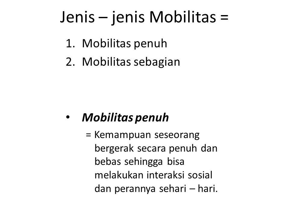 Jenis – jenis Mobilitas = 1.Mobilitas penuh 2.Mobilitas sebagian Mobilitas penuh = Kemampuan seseorang bergerak secara penuh dan bebas sehingga bisa melakukan interaksi sosial dan perannya sehari – hari.