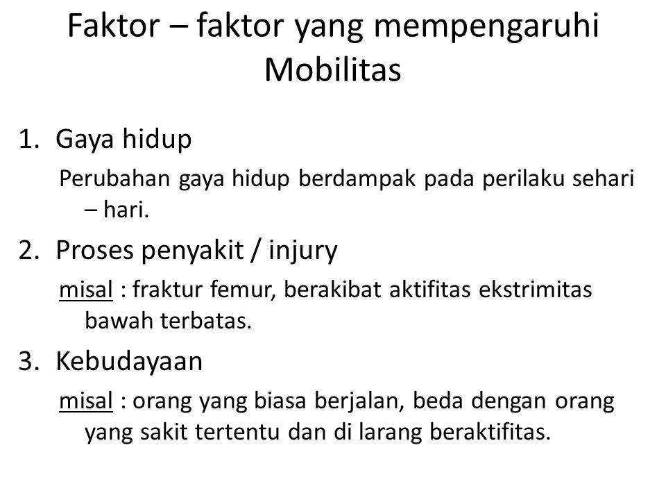 Faktor – faktor yang mempengaruhi Mobilitas 1.Gaya hidup Perubahan gaya hidup berdampak pada perilaku sehari – hari. 2.Proses penyakit / injury misal