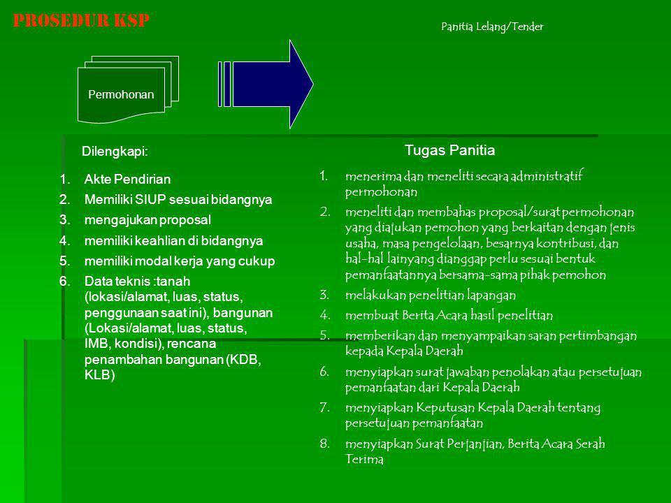 Prosedur KSP Permohonan Panitia Lelang/Tender 1.Akte Pendirian 2.Memiliki SIUP sesuai bidangnya 3.mengajukan proposal 4.memiliki keahlian di bidangnya
