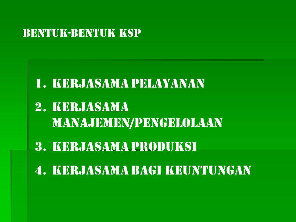 BENTUK-BENTUK KSP 1.Kerjasama Pelayanan 2.Kerjasama Manajemen/Pengelolaan 3.Kerjasama Produksi 4.Kerjasama Bagi Keuntungan