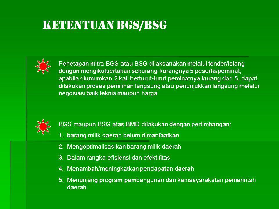 Ketentuan BGS/BSG Penetapan mitra BGS atau BSG dilaksanakan melalui tender/lelang dengan mengikutsertakan sekurang-kurangnya 5 peserta/peminat, apabil