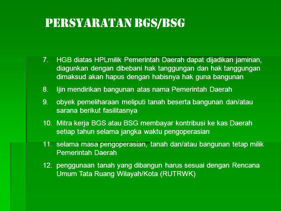 PERSYARATAN BGS/BSG 7.HGB diatas HPLmilik Pemerintah Daerah dapat dijadikan jaminan, diagunkan dengan dibebani hak tanggungan dan hak tanggungan dimak