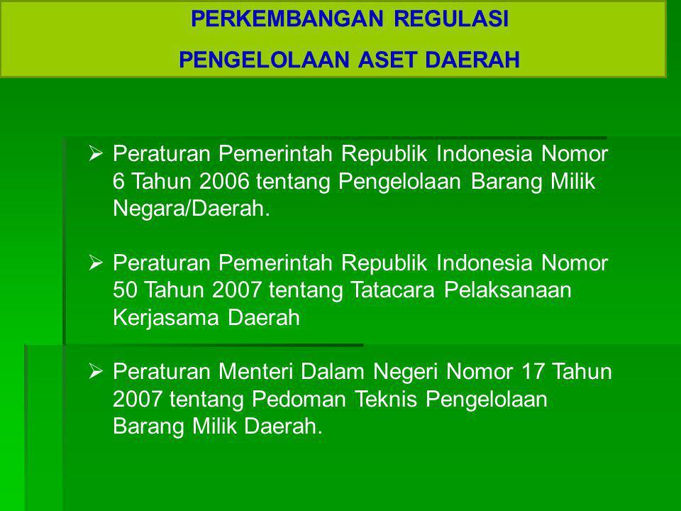 PERKEMBANGAN REGULASI PENGELOLAAN ASET DAERAH  Peraturan Pemerintah Republik Indonesia Nomor 6 Tahun 2006 tentang Pengelolaan Barang Milik Negara/Dae