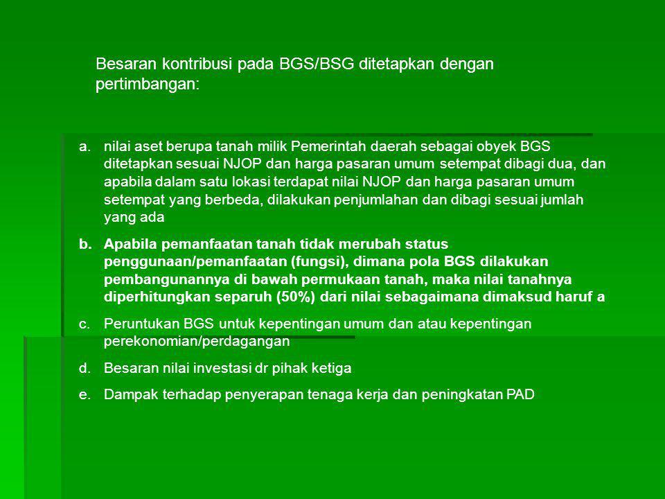 Besaran kontribusi pada BGS/BSG ditetapkan dengan pertimbangan: a.nilai aset berupa tanah milik Pemerintah daerah sebagai obyek BGS ditetapkan sesuai
