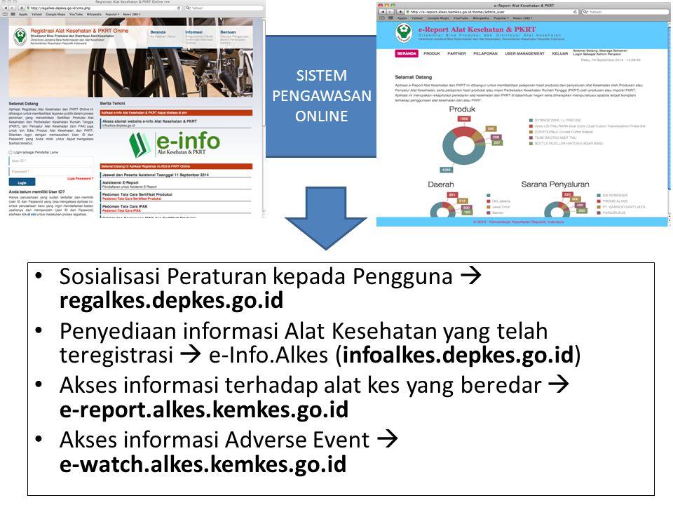 Sosialisasi Peraturan kepada Pengguna  regalkes.depkes.go.id Penyediaan informasi Alat Kesehatan yang telah teregistrasi  e-Info.Alkes (infoalkes.de