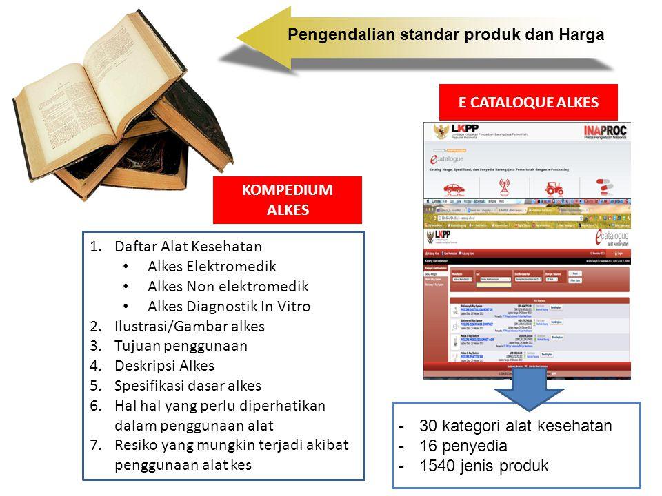 E CATALOQUE ALKES -30 kategori alat kesehatan -16 penyedia -1540 jenis produk Pengendalian standar produk dan Harga 1.Daftar Alat Kesehatan Alkes Elek