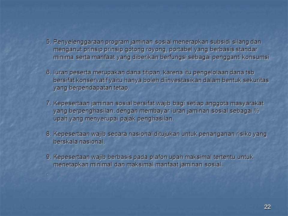 22 5. Penyelenggaraan program jaminan sosial menerapkan subsidi silang dan menganut prinsip prinsip gotong royong, portabel yang berbasis standar meng