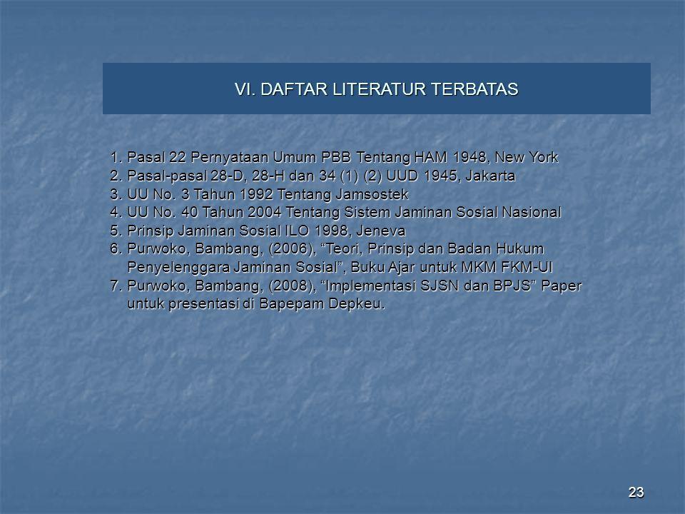23 VI. DAFTAR LITERATUR TERBATAS 1. Pasal 22 Pernyataan Umum PBB Tentang HAM 1948, New York 2. Pasal-pasal 28-D, 28-H dan 34 (1) (2) UUD 1945, Jakarta