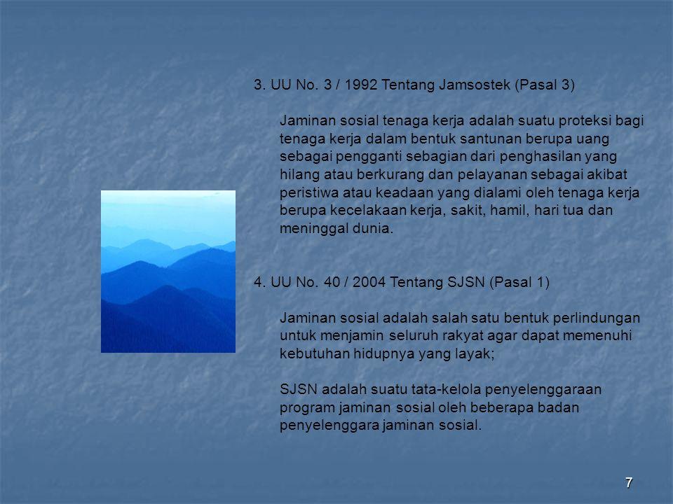 8 5.Purwoko, (2006) Jaminan sosial adalah ……..