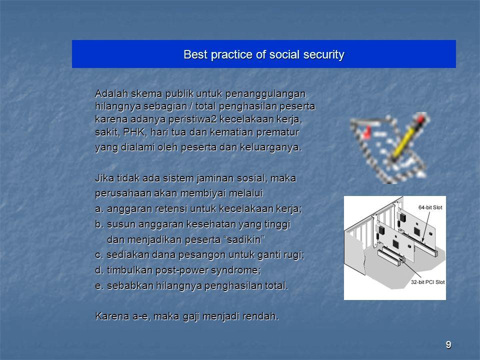 9 Best practice of social security Adalah skema publik untuk penanggulangan hilangnya sebagian / total penghasilan peserta karena adanya peristiwa2 ke