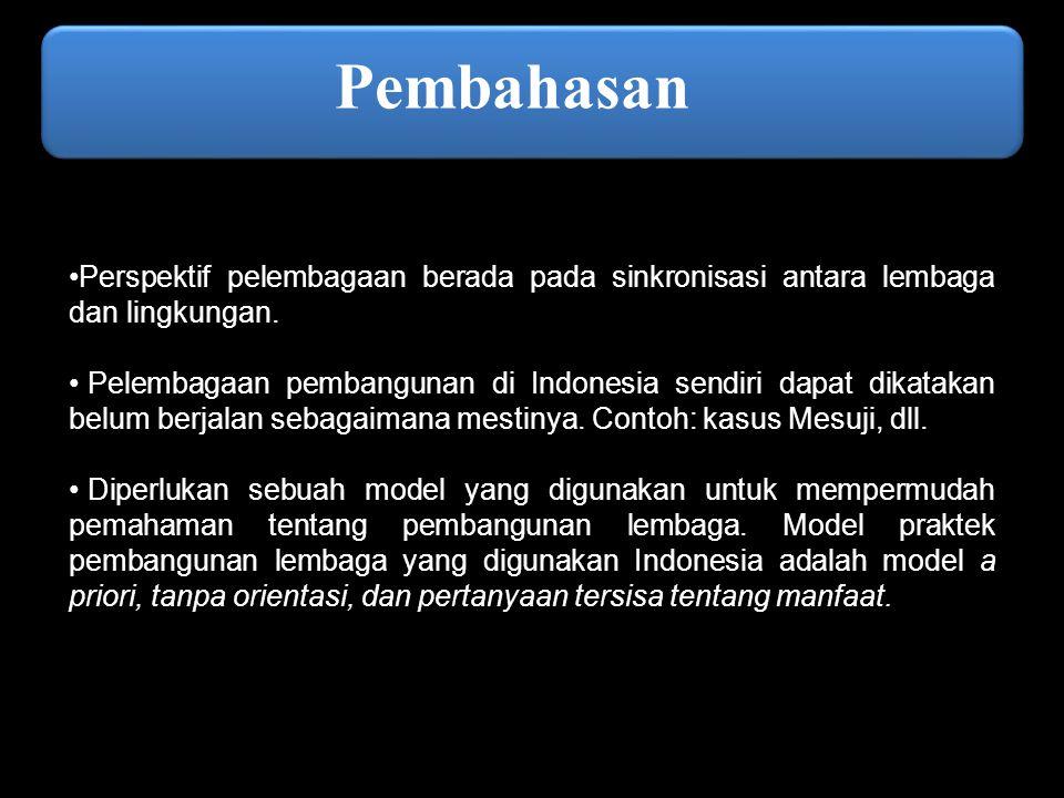 Lanjutan… Namun, Di Indonesia pemanfaatan dari model pembangunan lembaga nampaknya belum diusahakan secara maksimal  hanya berupa salinan ulang dari strategi sebelumnya tanpa adanya inovasi.