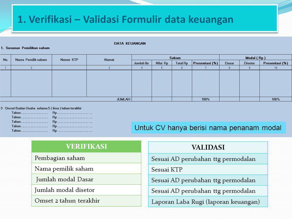 1. Verifikasi – Validasi Formulir data keuangan VERIFIKASI Pembagian saham Nama pemilik saham Jumlah modal Dasar Jumlah modal disetor Omset 2 tahun te