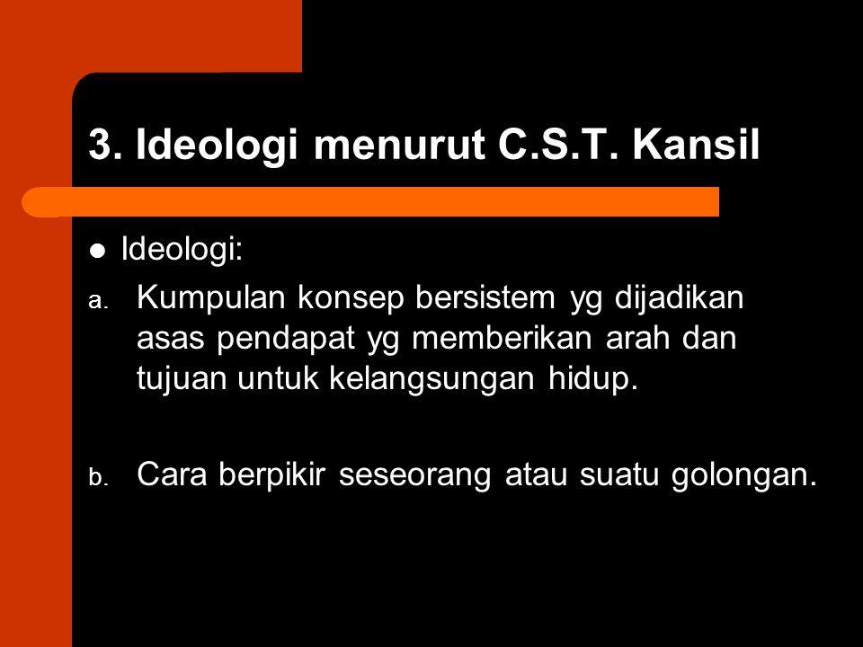 3. Ideologi menurut C.S.T. Kansil Ideologi: a. Kumpulan konsep bersistem yg dijadikan asas pendapat yg memberikan arah dan tujuan untuk kelangsungan h