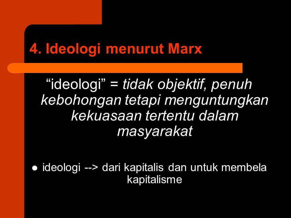 """4. Ideologi menurut Marx """"ideologi"""" = tidak objektif, penuh kebohongan tetapi menguntungkan kekuasaan tertentu dalam masyarakat ideologi --> dari kapi"""