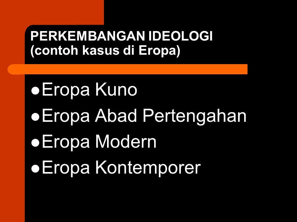 PERKEMBANGAN IDEOLOGI (contoh kasus di Eropa) Eropa Kuno Eropa Abad Pertengahan Eropa Modern Eropa Kontemporer