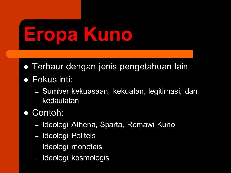 Eropa Kuno Terbaur dengan jenis pengetahuan lain Fokus inti: – Sumber kekuasaan, kekuatan, legitimasi, dan kedaulatan Contoh: – Ideologi Athena, Spart