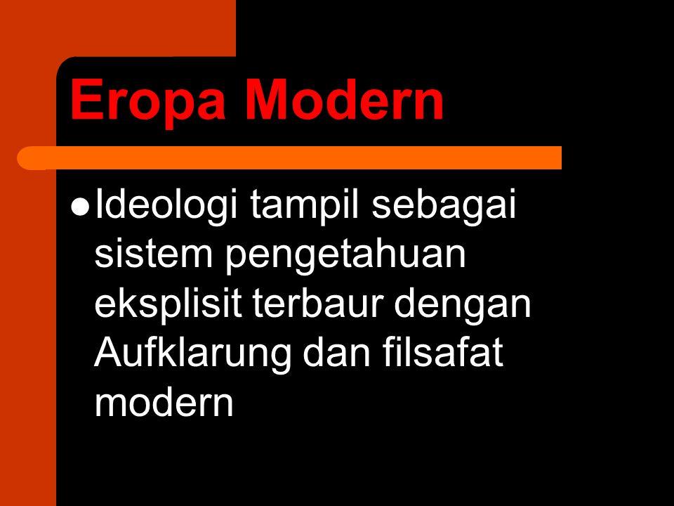 Eropa Modern Ideologi tampil sebagai sistem pengetahuan eksplisit terbaur dengan Aufklarung dan filsafat modern