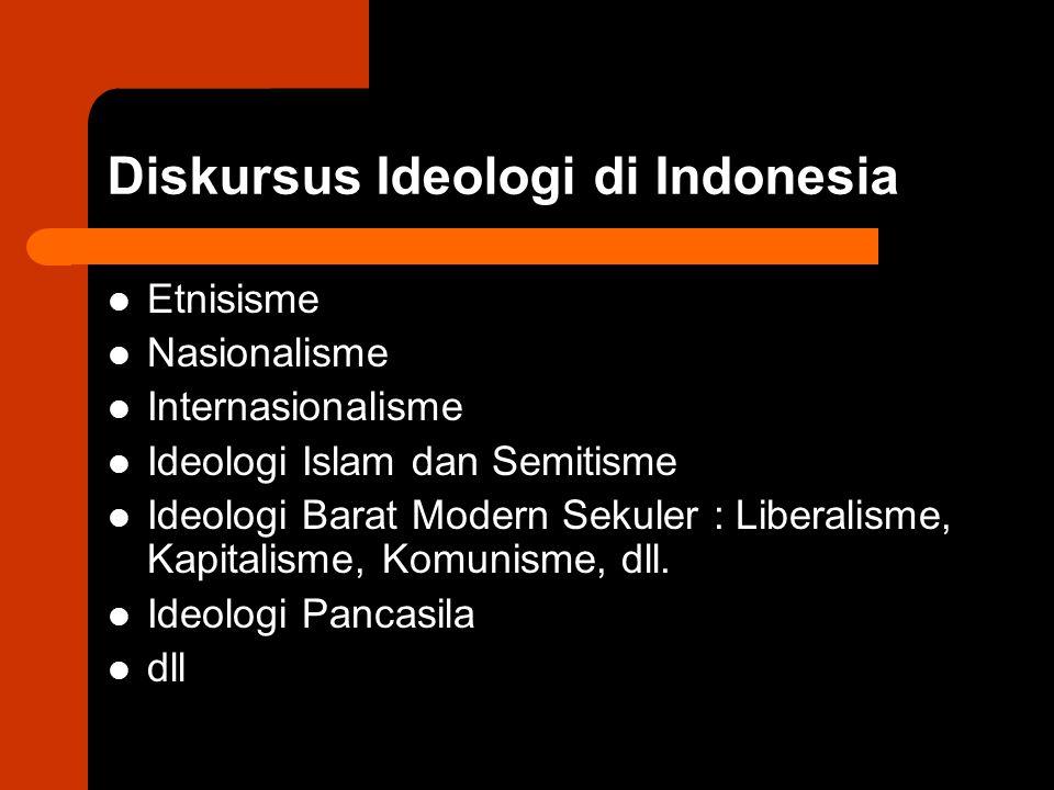 Diskursus Ideologi di Indonesia Etnisisme Nasionalisme Internasionalisme Ideologi Islam dan Semitisme Ideologi Barat Modern Sekuler : Liberalisme, Kap