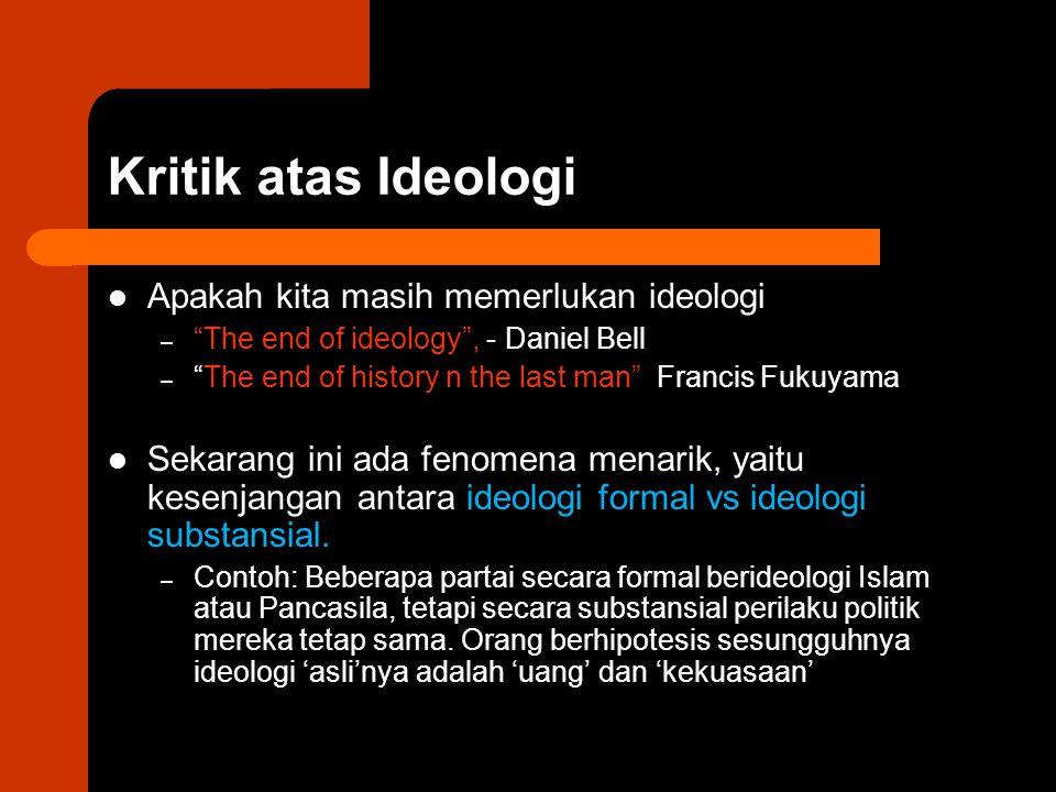 "Kritik atas Ideologi Apakah kita masih memerlukan ideologi – ""The end of ideology"", - Daniel Bell – ""The end of history n the last man"" Francis Fukuya"