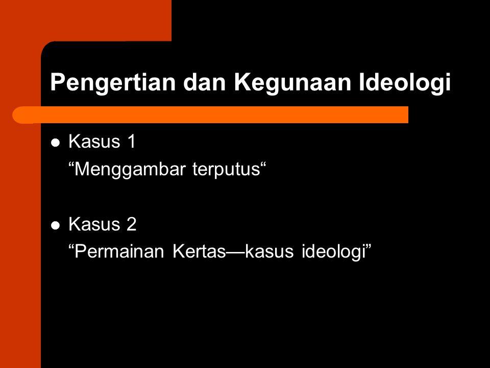 """Pengertian dan Kegunaan Ideologi Kasus 1 """"Menggambar terputus"""" Kasus 2 """"Permainan Kertas—kasus ideologi"""""""
