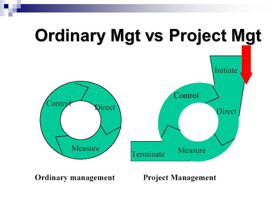 Ordinary Mgt vs Project Mgt