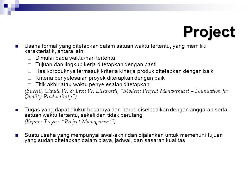 Project Usaha formal yang ditetapkan dalam satuan waktu tertentu, yang memiliki karakteristik, antara lain:  Dimulai pada waktu/hari tertentu  Tujua