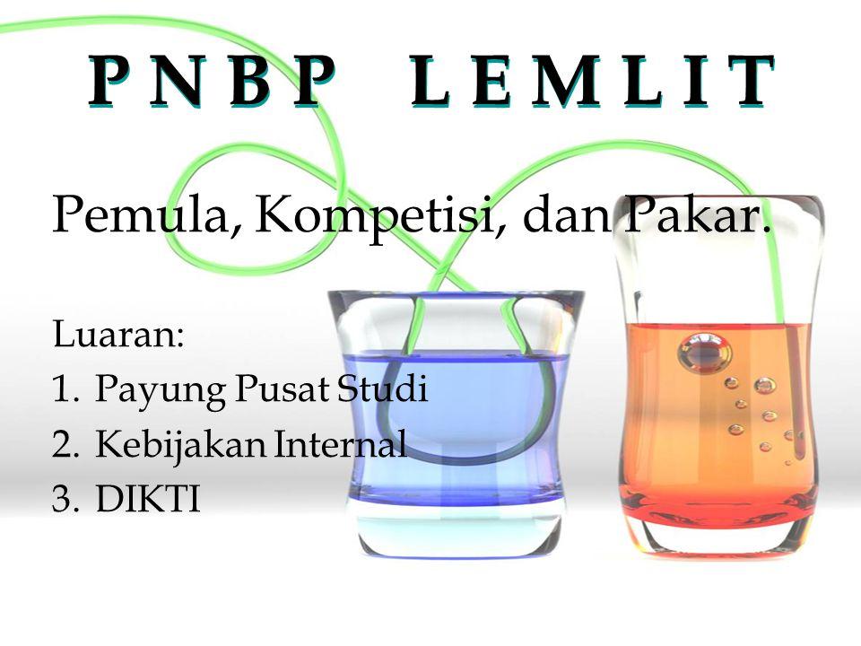 P N B P L E M L I T Pemula, Kompetisi, dan Pakar. Luaran: 1.Payung Pusat Studi 2.Kebijakan Internal 3.DIKTI