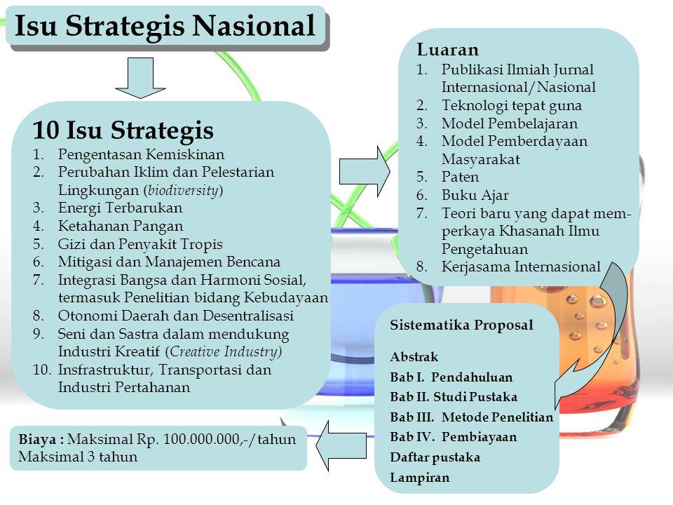 Isu Strategis Nasional 10 Isu Strategis 1. 1.Pengentasan Kemiskinan 2. 2.Perubahan Iklim dan Pelestarian Lingkungan ( biodiversity ) 3. 3.Energi Terba
