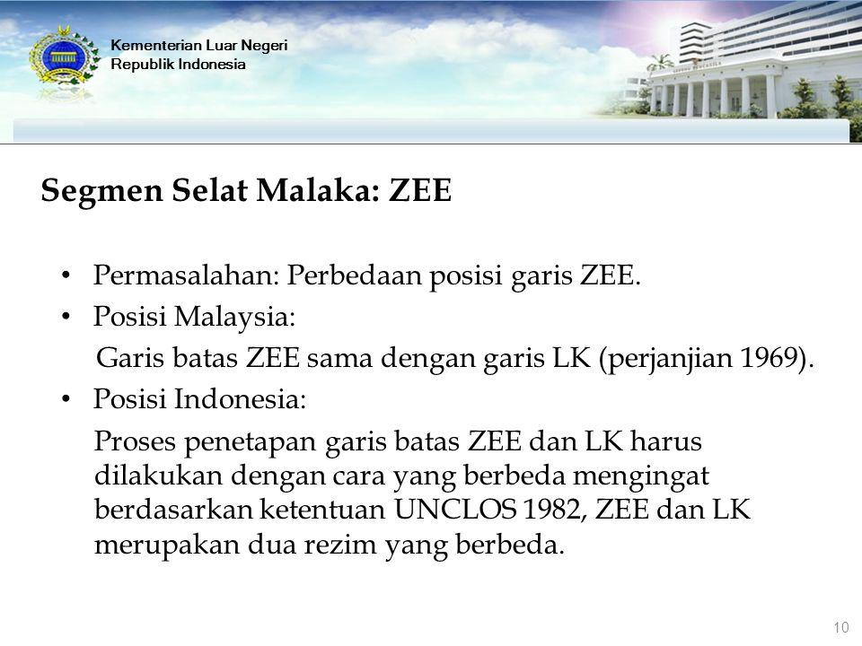 Segmen Selat Malaka: ZEE Permasalahan: Perbedaan posisi garis ZEE. Posisi Malaysia: Garis batas ZEE sama dengan garis LK (perjanjian 1969). Posisi Ind