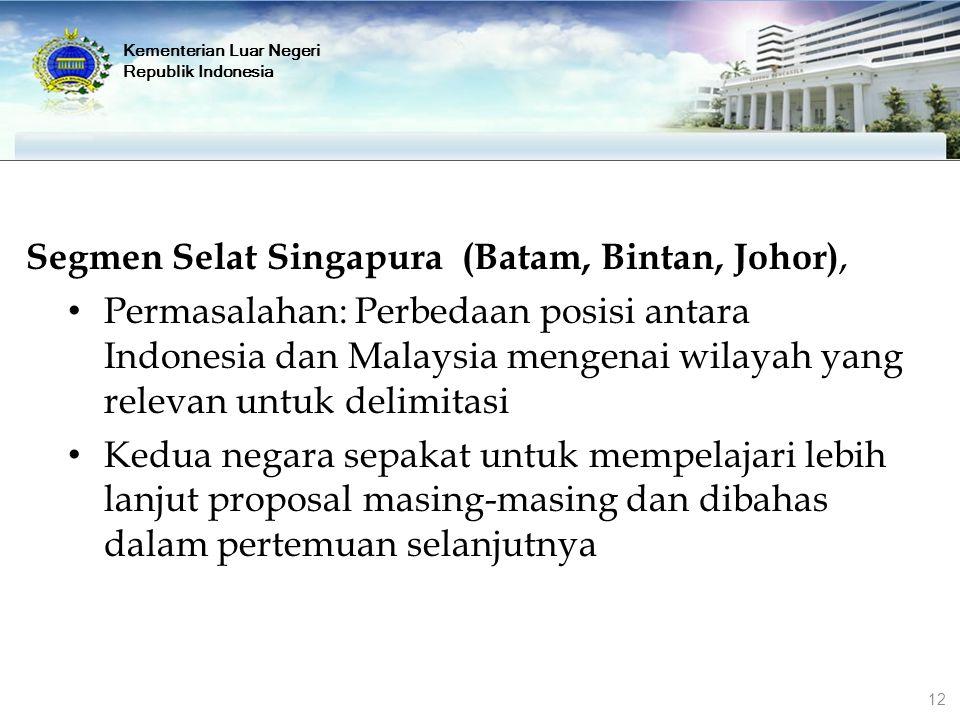 Segmen Selat Singapura (Batam, Bintan, Johor), Permasalahan: Perbedaan posisi antara Indonesia dan Malaysia mengenai wilayah yang relevan untuk delimi